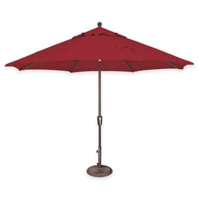 SimplyShade® Catalina 11-Foot Push Button Tilt Octagon Aluminum Solefin Umbrella in Forest Green