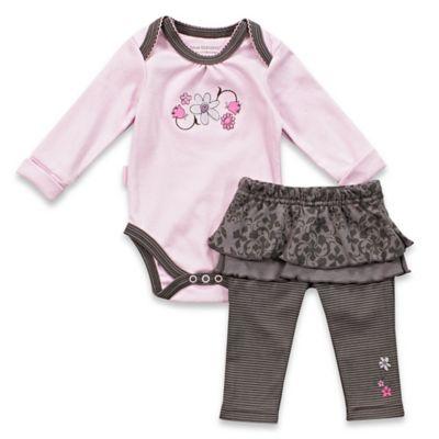 Kushies Blue Banana™ Newborn Petite Fashionista Bodysuit and Ruffle Pant Set Lilac/Grey