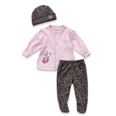Kushies Blue Banana™ Newborn Petite Fashionista Cardigan, Footed Pant, and Hat Take Me Home Set