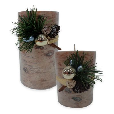 Painted Birch 3-Inch x 4-Inch Holiday Pillar Candle