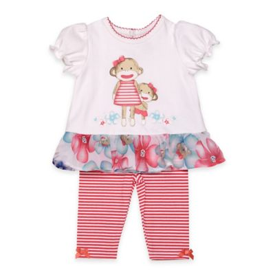 Baby Starters® Sock Monkey Size 9M 2-Piece Peplum Top and Pant Set in Red/White