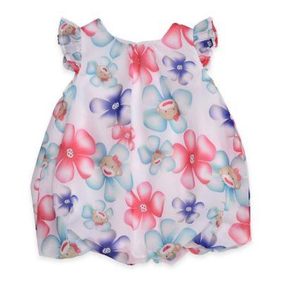 Baby Starters® Size 9M Chiffon Floral Monkey Bubble Romper in Pink/Blue