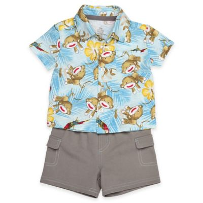 Baby Starters® Size 3M 2-Piece Sock Monkey Hawaiian Shirt and French Terry Short Set