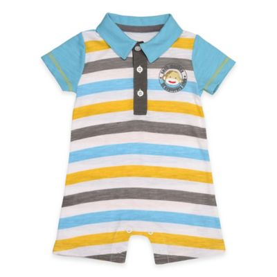 "Baby Starters® Size 3M Sock Monkey ""Lil' Explorers Club"" Romper in Blue/Yellow"