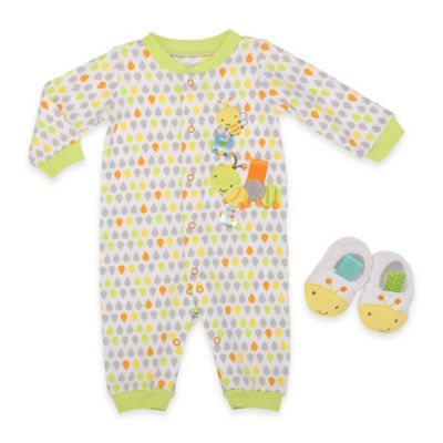 Taggies™ Size 3M 2-Piece Caterpillar Coverall and Bootie Set in Green/Yellow