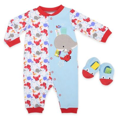 Blue Coverall and Bootie Set