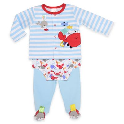 Taggies™ Size 6M Whale and Crab 3-Piece Take Me Home Set in Blue/Red