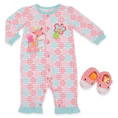 Taggies™ Size 3M 2-Piece Giraffe and Butterfly Coverall and Bootie Set in Pink/Blue