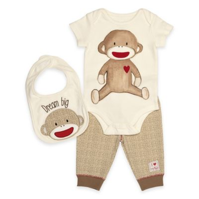 "Baby Starters® Size 12M Sock Monkey 3-Piece Bodysuit, ""Dream Big"" Bib, and Pant Set in Cream"