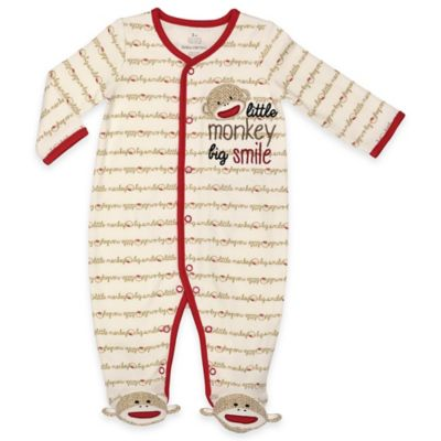 "Baby Starters® Size 6M Sock Monkey ""Little Monkey, Big Smile"" Footie in Cream/Red"