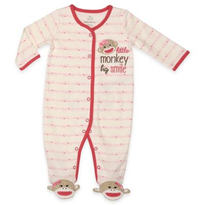 "Baby Starters® Size 6M Sock Monkey ""Little Monkey, Big Smile"" Footie in Cream/Pink"