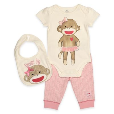 "Baby Starters® Size 6M Sock Monkey 3-Piece Bodysuit, ""Dream Big"" Bib, and Pant Set in Pink"