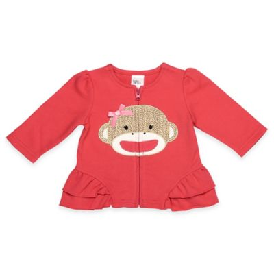 Baby Starters® Size 3M Sock Monkey Zip Front Ruffled Jacket in Coral