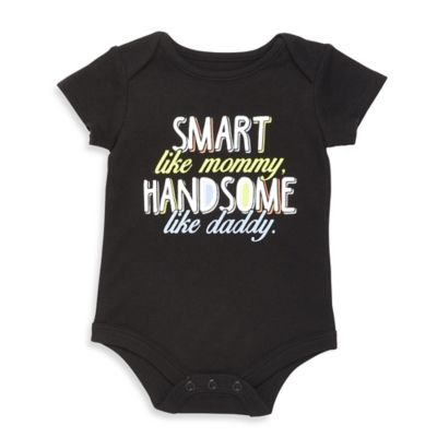 "Baby Starters® Size 6M ""Smart Like Mommy, Handsome like Daddy"" Bodysuit in Black"