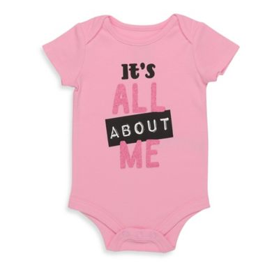 "Baby Starters® Size 12M Babies with Attitude ""It's All About Me"" Bodysuit in Pink/Black"