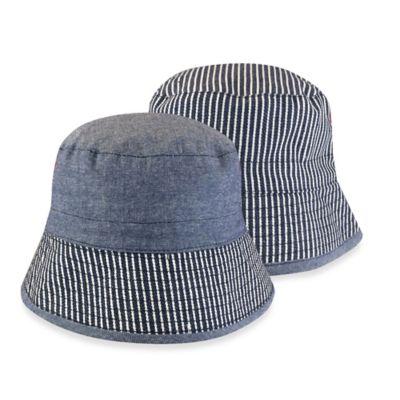 Toby™ Newborn Reversible Railroad Stripe Bucket Hat in Navy/White