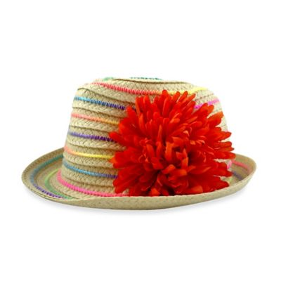 Toby™ Newborn Fedora with Rainbow Soutache and Coral Flower