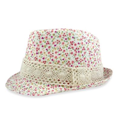 Toby™ Newborn Ditsy Floral Print Fedora with Natural Lace Band