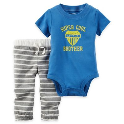 "carter's® Size 18M 2-Piece ""Super Cool Little Brother"" Bodysuit and Pant Set in Blue"