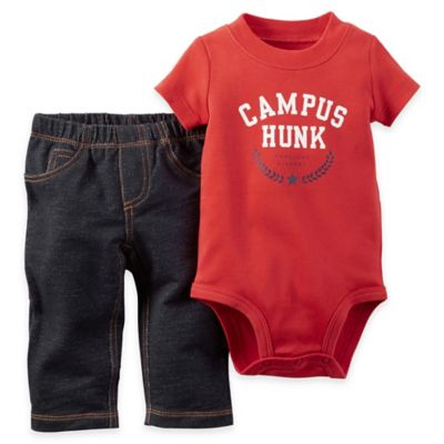 "carter's® Size 12M 2-Piece ""Campus Hunk"" Short-Sleeve Bodysuit and Pant Set in Red/Blue"