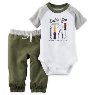 """carter's® Newborn 2-Piece """"Daddy and Son Construction Co."""" Bodysuit and Pant Set in White"""