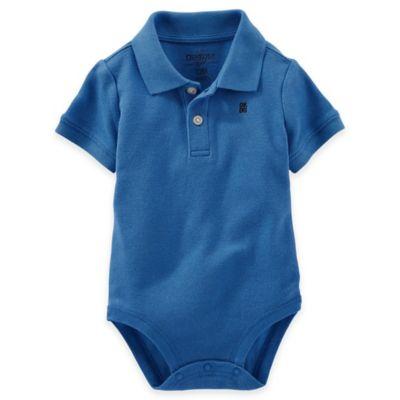 OshKosh B'gosh® Size 3M Piqué Polo Bodysuit in Blue