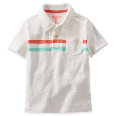 OshKosh B'gosh® Size 4T Jersey Stripe Polo Shirt in Ivory
