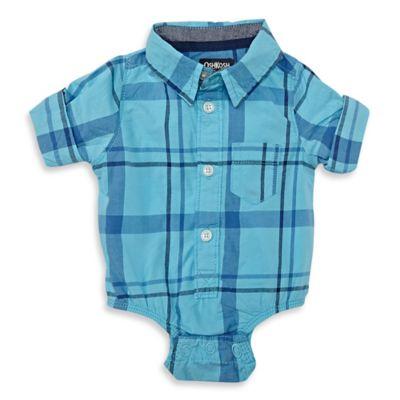 OshKosh B'gosh® Size 6M Plaid Button-Front Bodysuit in Light Blue
