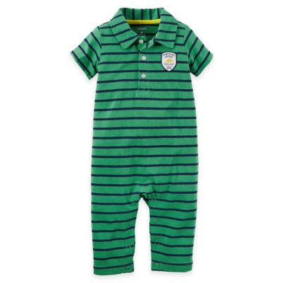 "carter's® Newborn ""Dinosaur Expert"" Striped Cotton Romper in Green/Navy"