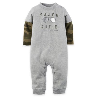 "carter's® Size 12M ""Major Cutie"" Jersey Romper in Heather Grey"