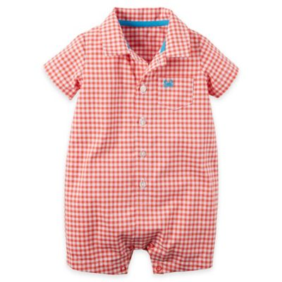 carter's® Size 9M Button-Front Plaid Cotton Romper in Red