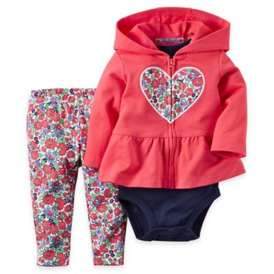 carter's Newborn 3-Piece Heart Floral French Terry Peplum Hoodie, Bodysuit, and Pant Set