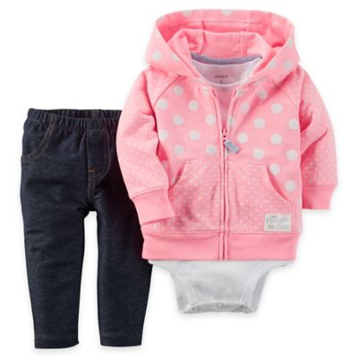 carter's® Newborn Polka Dot French Terry Hoodie, Bodysuit, and Pant Set in Pink/Denim