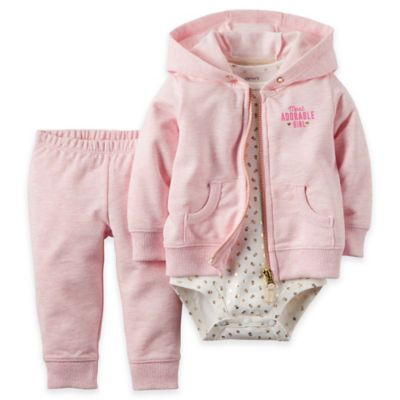 "carter's® Newborn 3-Piece ""Adorable"" French Terry Hoodie, Bodysuit, and Pant Set in Pink/Gold"