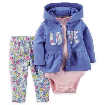 "carter's Newborn 3-Piece"" Love"" Floral French Terry Peplum Hoodie, Bodysuit, and Pant Set"