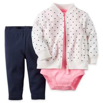 carter's® Newborn 3-Piece Dot French Terry Jacket, Pant, and Bodysuit Set in White/Navy/Pink