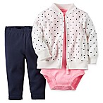 carter's® 6M 3-Piece Dot French Terry Jacket, Pant, and Bodysuit Set in White/Navy/Pink