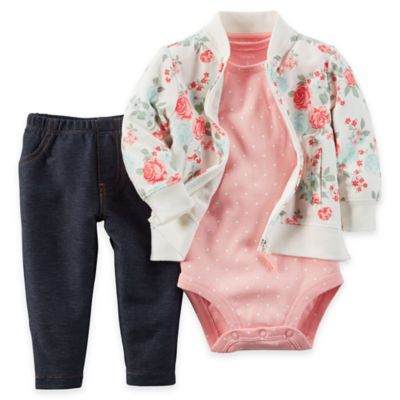 carter's® Size 12M 3-Piece Rose Print French Terry Jacket, Bodysuit, and Pant Set in Pink/Green
