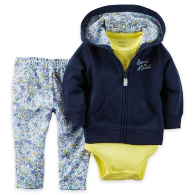 "carter's Newborn 3-Piece French Terry ""Sweet Heart"" Hoodie, Bodysuit, and Floral Pant Set"