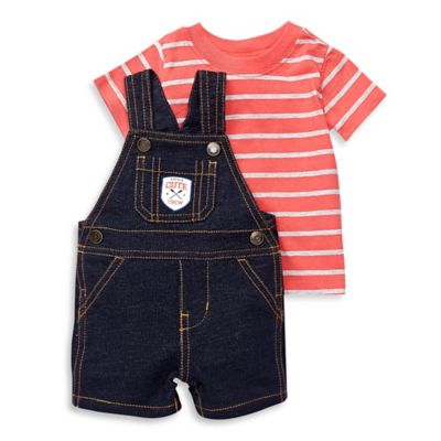 "carter's® Size 12M 2-Piece ""Little Cute Crew"" Shirt and Denim Shortalls Set in Red"