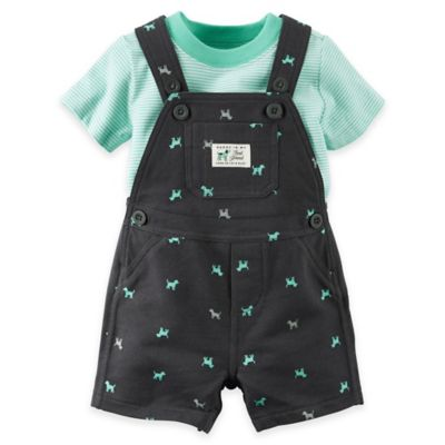 "carter's® Size 12M 2-Piece ""Daddy Is My Best Friend"" Shirt and Shortalls Set in Black/Green"