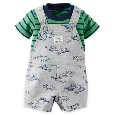 "carter's® Size 12M 2-Piece ""Dino-Mite"" Shirt and Shortalls Set in Grey/Green"