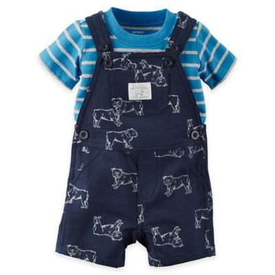 "carter's® Size 18M 2-Piece ""Seriously Handsome"" Shirt and Shortalls Set in Navy"