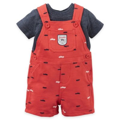 "carter's® Size 12M 2-Piece ""Mom's Little Speedster"" Shirt and Shortalls Set in Red"
