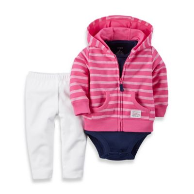 carter's® 3-Piece Stripe French Terry Hoodie, Bodysuit, and Pant Set in Pink/Navy/White