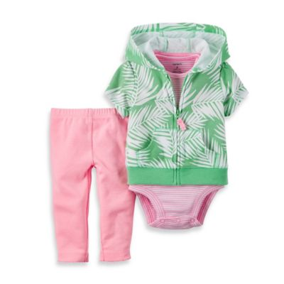 carter's® Size 6M 3-Piece Palm Leaf Short Sleeve Cardigan Set in Pink/Green