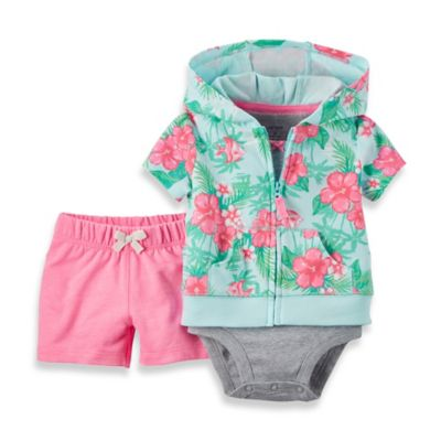 carter's® Newborn 3-Piece Floral Short Sleeve Hoodie, French Terry Short, and Bodysuit Set
