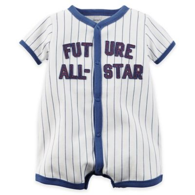 carter's® Size 6M Snap-Up Applique Cotton Future All-Star Romper in Ivory