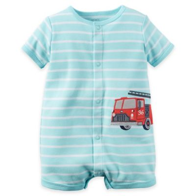 carter's® Size 9M Snap-Up Applique Cotton Fire Truck Romper in Turquoise