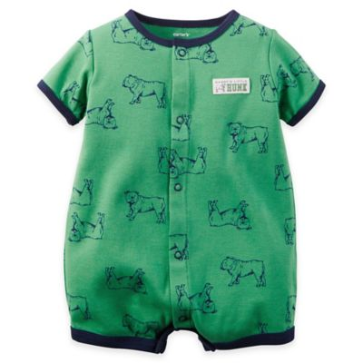 carter's® Size 3M Dogs Snap-Up Printed Cotton Romper in Green